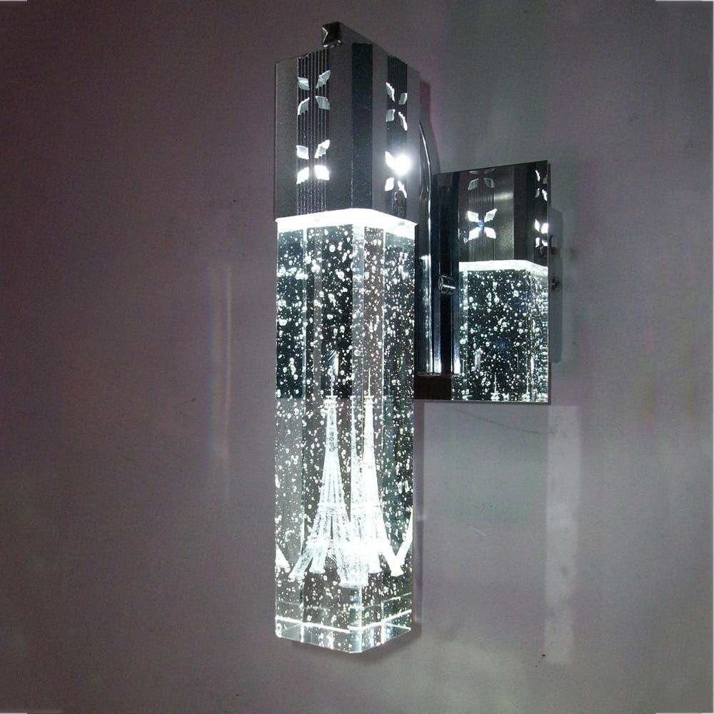 Modern LED Crystal Wall Lamp Bubble Crystal Column Bedside Light Living Room Wall Lamp Mirror Front Light  Single Head 4W