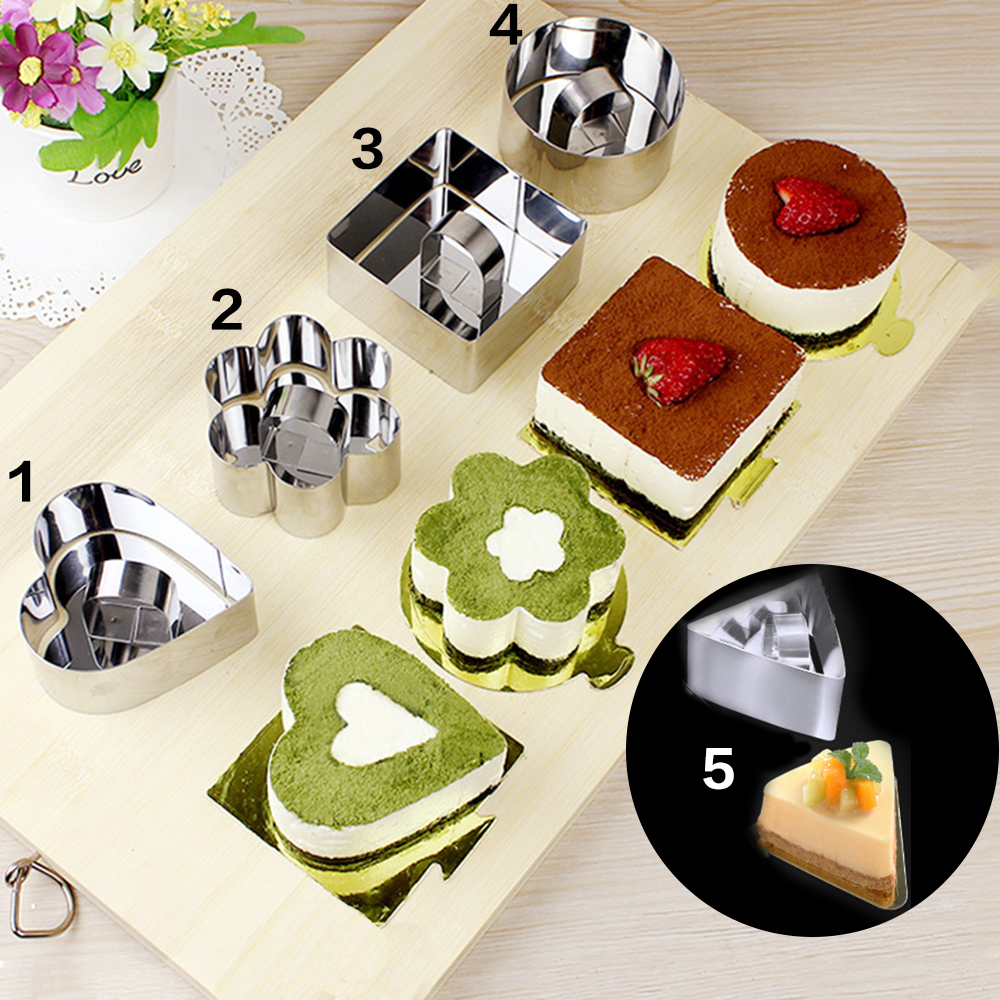 5pcs Lot Mousse Cake Mold Different Shapes Stainless Steel