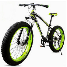 tb01/Wide tires / mountain bike / snow bike beach car / 26 inch aluminum alloy 27 speed two-disc brakes off-road bike(China)