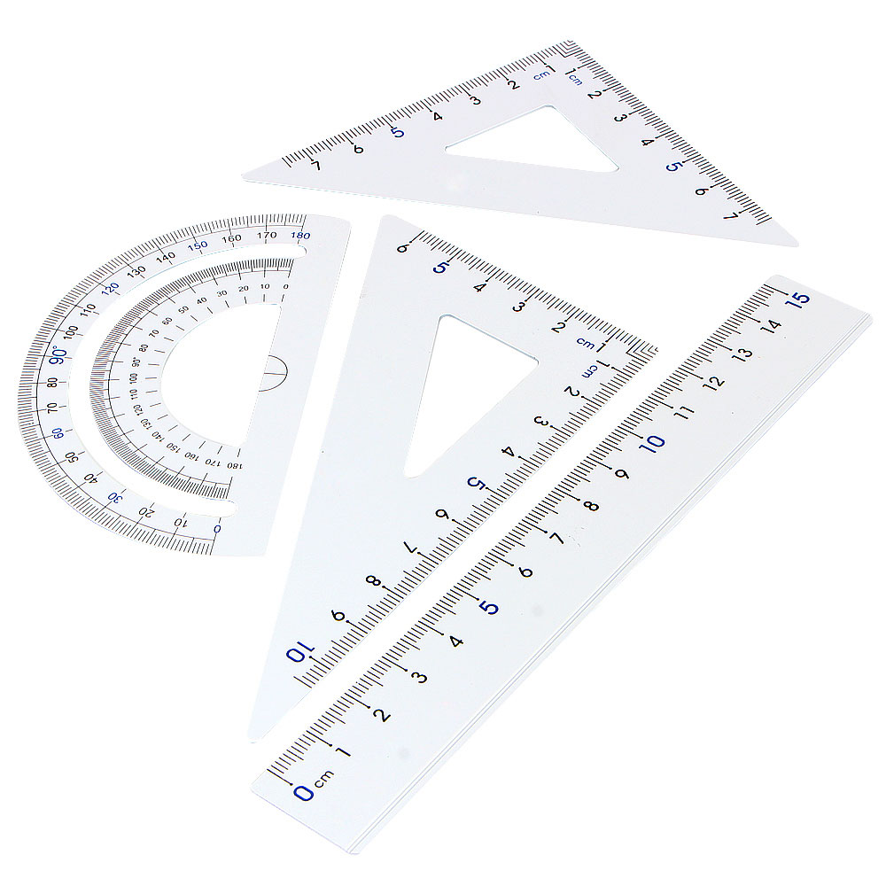 4Pcs/Pack students drawing school supplies Set square triangle ruler Aluminum Alloy protractor/four sets free shipping