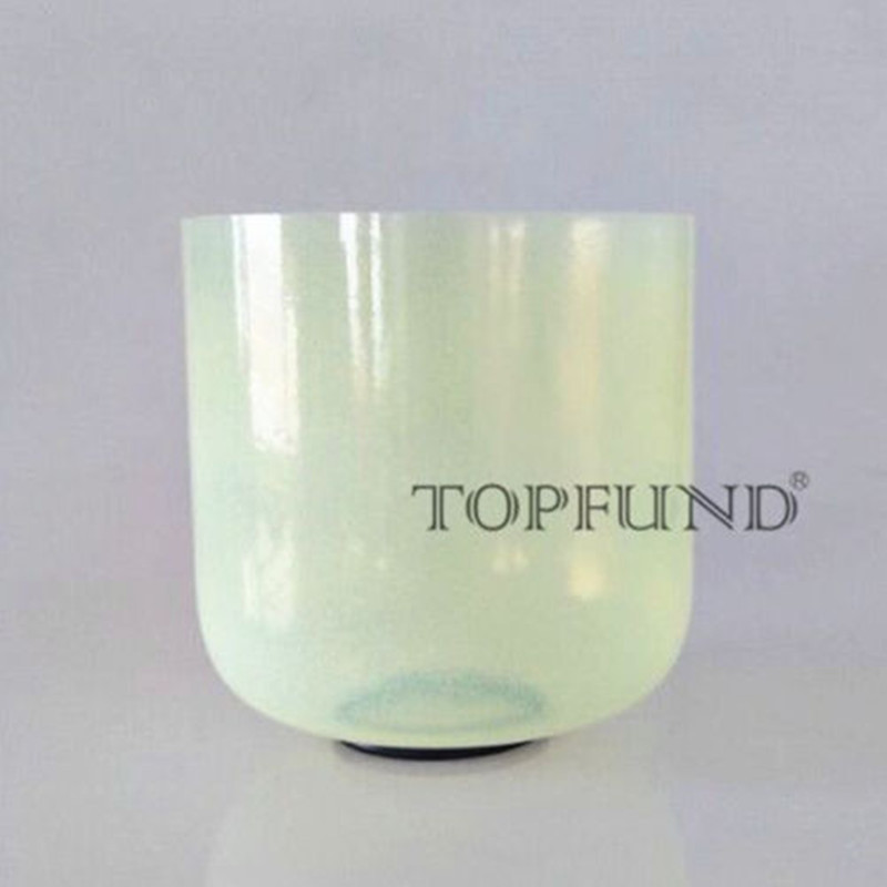 TOPFUND B Crown Chakra Alchemy Gem Olivine Fusion Clear Quartz Crystal Singing Bowl 7 With Free Mallet and O Ring
