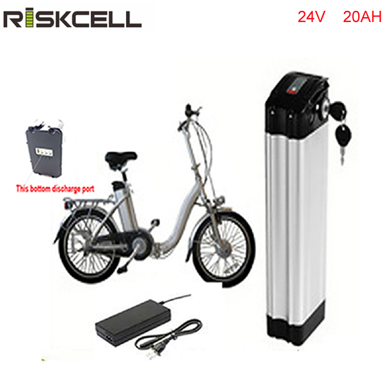 No taxes Bottom discharge silver fish case 24v 20ah e-bike battery 24 volt  300w lithium battery pack with charger and bms bottom discharge 48 volt 750w bafang electric bike battery 48v 8ah lithium ion battery pack silver fish akku with usb port