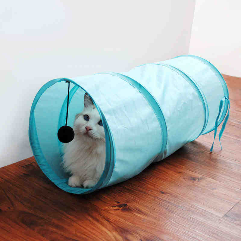 Cat Tunnel Funny Foldable Cat Tunnel with Ball Kitten Pet Play Toy for Kitten Puppy Rabbit 3 Colors Cat Toy