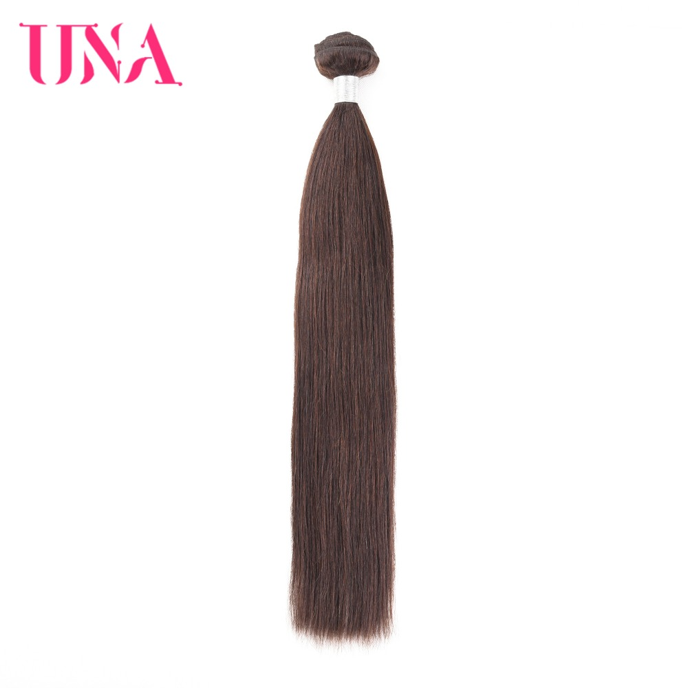 UNA Straight Brazilian Human Hair Bundles Non-Remy Hair Weft Brown Color Human Hair Weave Bundles