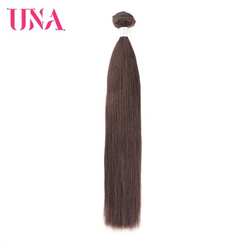 UNA Straight Brazilian Human Hair Bundles Non-Remy Weft Brown Color Weave