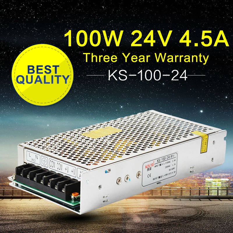 AC DC 24V Power Supply 100W 110V 220V Input Regulated Switching Power Supply for LED Display LED String & LED Sign  Webcam ac dc switching power supply 12v 15w 220v 110v to 12v dc adapter for led display led string led sign high efficiency mini size
