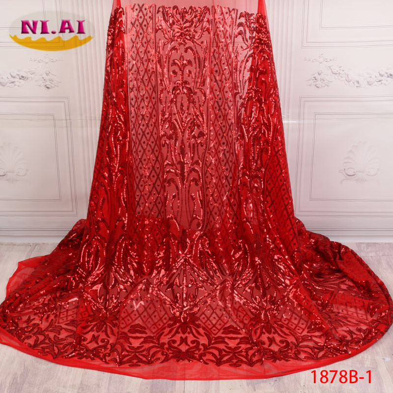 Latest Net French Lace Fabric 2018 High Quality Net Lace Material African Sequin Lace Fabric  Nigerian Wedding Dress XY1878B-1