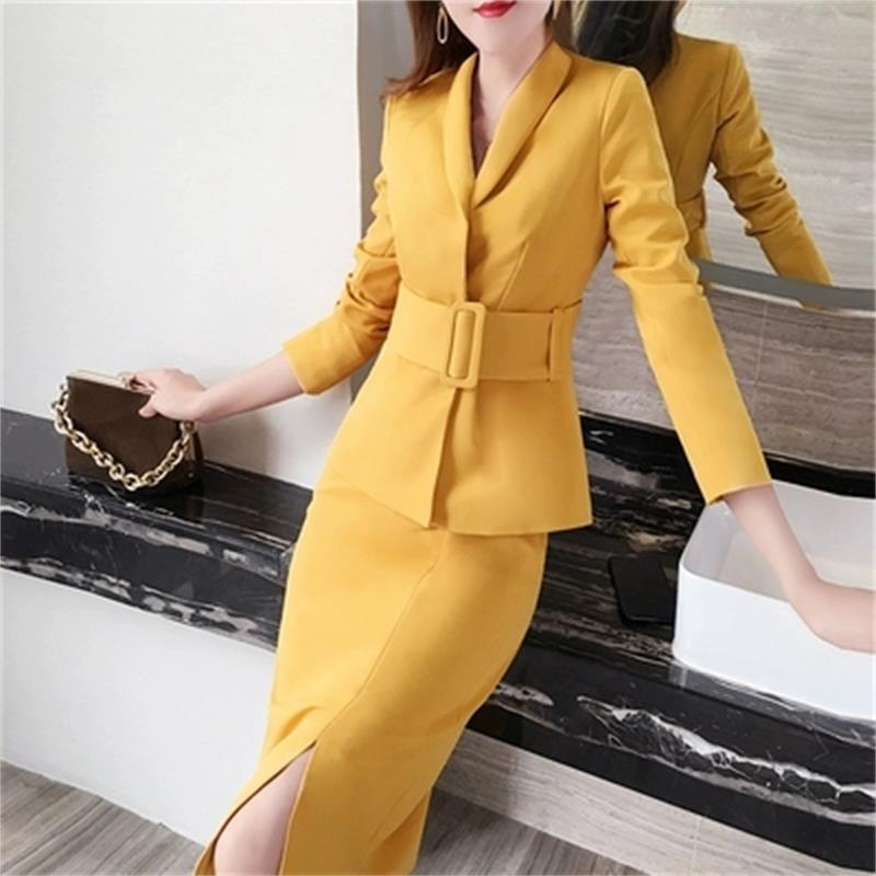 Fashion women Suit female spring Large size New High end Business suit temperament ol commuter bag hip skirt two piece skirt-in Women's Sets from Women's Clothing    1