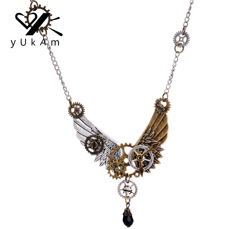 fashion gold clock in jewelry women pendant item necklaces from watch silver round chain men necklace clockwork for lychee gear