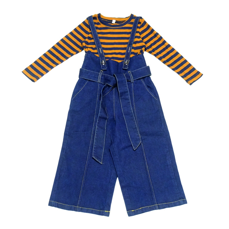 Baby Girl Clothes 2018 Toddler Kids Autumn Clothing Set Striped Full Sleeve Shirt+Denim Strap Wide-leg Pants 2Pcs Teenager Suits buttoned wide waistband palazzo pants with strap