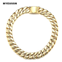 316L Stainless Steel Link Chain necklace cuban chain Men Fashion Gold/Silver Color Charm Hip Hop Jewelry Titanium Necklace gift