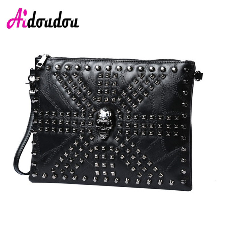 2018 Vintage Skull Clutch Bag Women Messenger Bag Men Rivet Skulls Clutches Purse For Women Handbag Bolsa Feminina De Luxo 2016 spring newest vintage women handbag fashion skull rivet women s one shoulder messenger bag