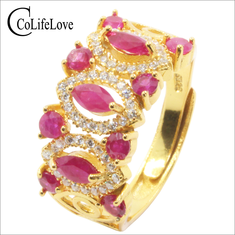 Baroque silver ruby ring for woman 11 pcs natural Africa ruby silver ring solid 925 silver