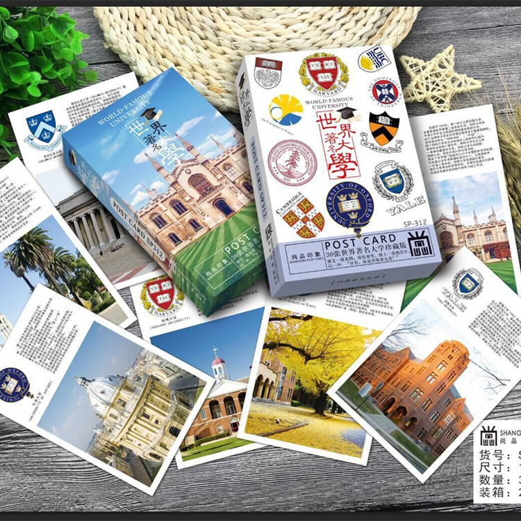 36sheets/LOT World Famous Brand Colleges And Universities Landscapes Harvard Oxford University Postcard /Greeting Card/wish Card