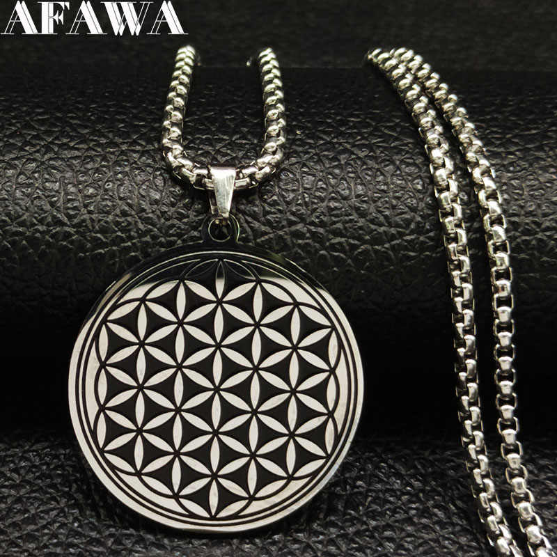 2019 Fashion Round Stainless Steel Necklace Women Black Flower of Life Choker Necklace Jewelry acero inoxidable joyeria B18200