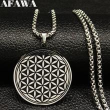 2019 Fashion Round Stainless Steel Necklace Women Black Flower of Life Choker Jewelry acero inoxidable joyeria B18200