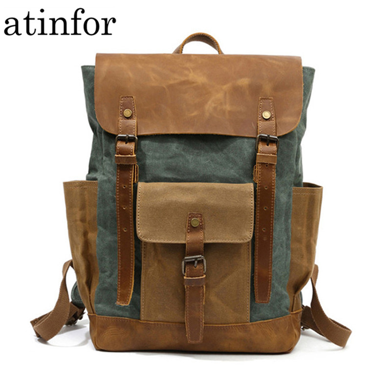 Waterproof Oil Wax Canvas with Crazy Horse Cow Leather Backpacks Vintage Unisex Travel Rucksacks 15 Laptop
