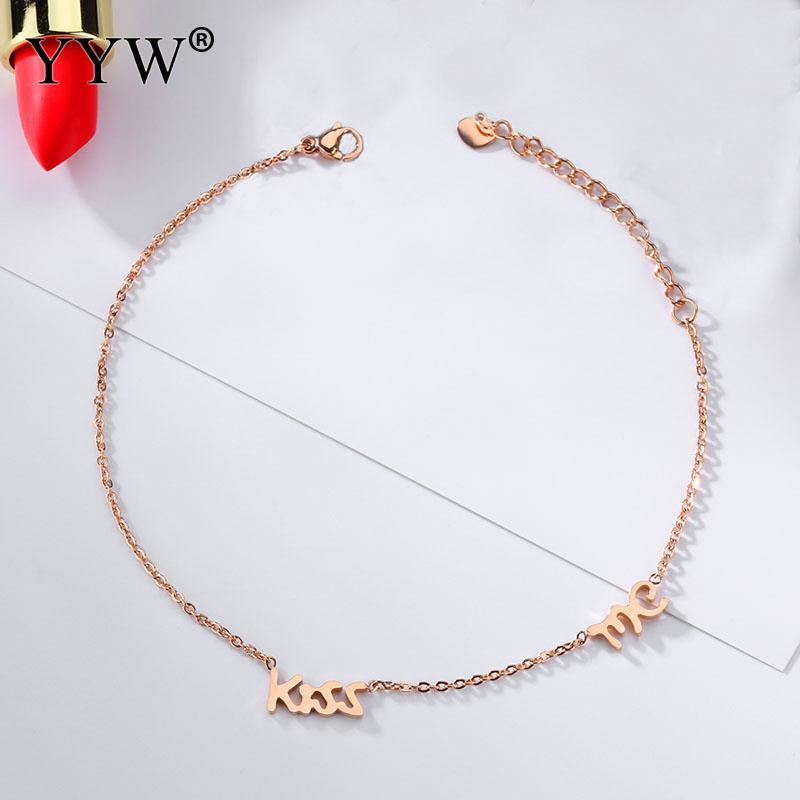 d6da9b82ee Fashion Girls Summer Anklet Rose Gold Stainless Steel Letter Kiss Anklets  Foot Chain Jewelry Ankle Strap For Women Birthday Gift-in Anklets from  Jewelry ...