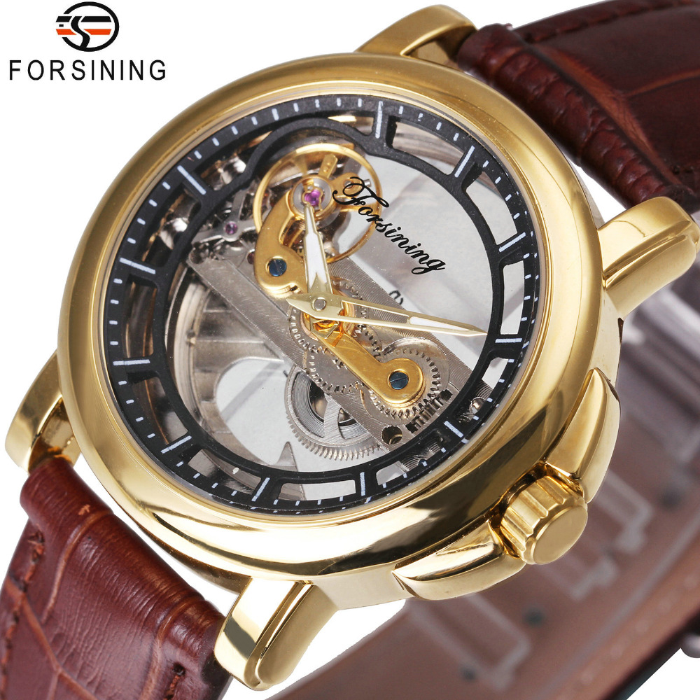 FORSINING Automatic Mechanical Watches Men Luxury Brand Golden Bridge Design Leather Strap Casual Skeleton Watch Clock relogio mens mechanical watches top brand luxury watch fashion design black golden watches leather strap skeleton watch with gift box