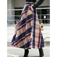 Vintage Women Plaid Skirts Winter Wool Blends Long Elegant Blue High Waist Pleated Pocket Print Female Office Swing Maxi Skirts