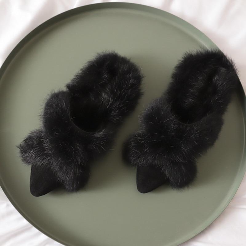 Nueva Pelo black Caliente Botas Encantadora Zapatos Conejo Moda De 2019 Mstacchi Genuino Milky Punta Planos Mujer Cuero pxH5R5q7w