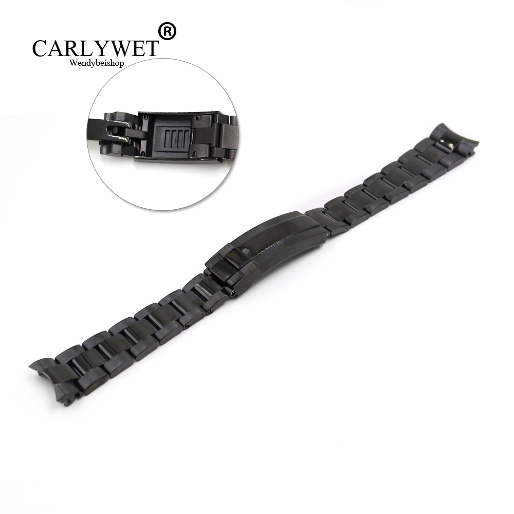 CARLYWET 20mm Black Stainless Steel Solid Curved End Screw Links New Style Glide Lock Clasp Steel Watch Band Bracelet Strap carlywet 22 24mm silver solid screw links replaceme 316l stainless steel wrist watch band bracelet strap with double push clasp