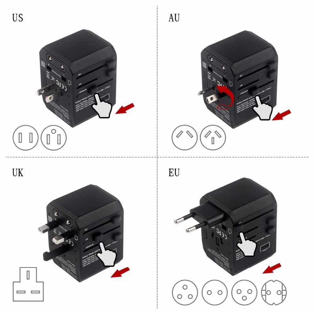 Adapter podróżny Hyleton uniwersalny zasilacz ładowarka na całym świecie adapter ściany elektryczne wtyki gniazda konwerter do telefonów komórkowych
