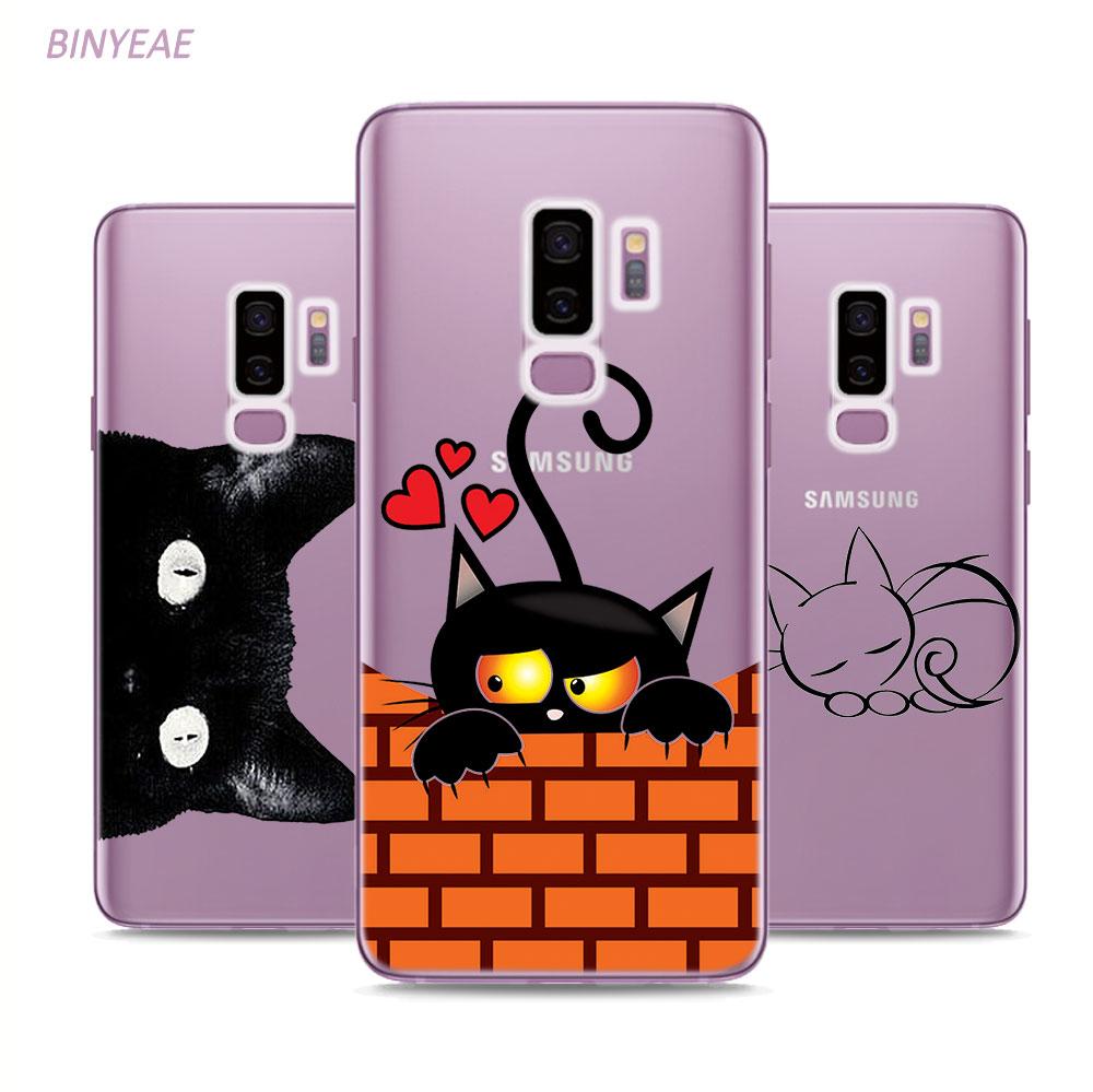 BINYEAE Cute Black Cat  Style Clear Soft TPU Phone Cases For Samsung Galaxy S9 S8 Plus S7 S6 S5 S4 Mini Edge