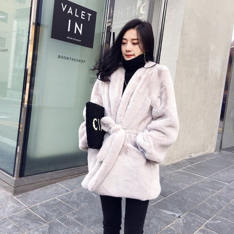 Warm Fur Coat Female Long Section 2018 New Korean Version Loose Mink Fur Fashion Temperament Imitation Fur Coat Winter