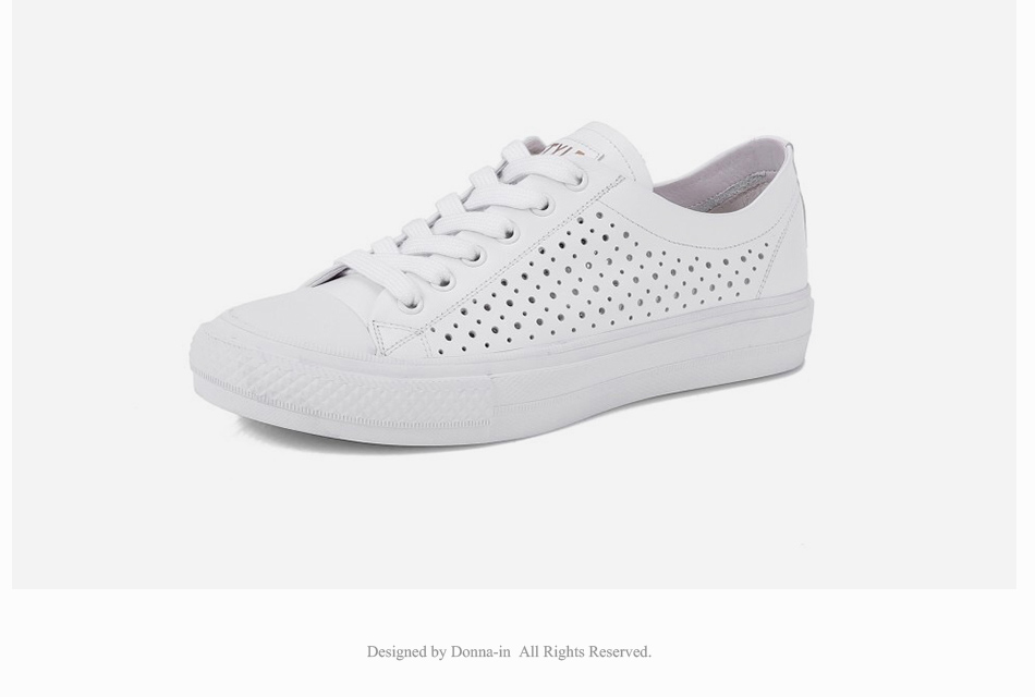 Donna-in 2019 New Women Flats Sneakers Genuine Leather Shoes Lace-up Cut-outs Flat Casual Women Shoes Hollow Summer Black White (21)