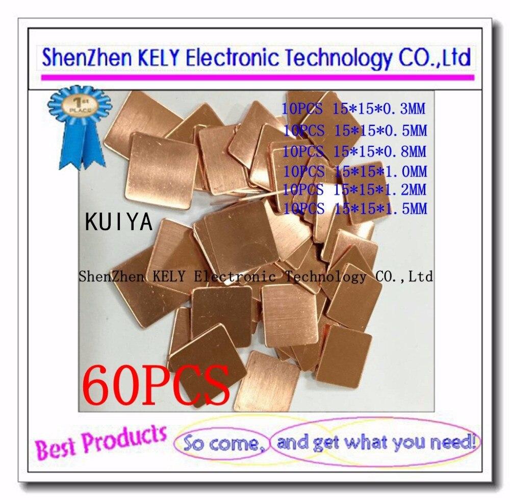 15 Pcs 15mm x 15mm x 2mm Notebook Laptop GPU CPU Heatsink Copper Pad