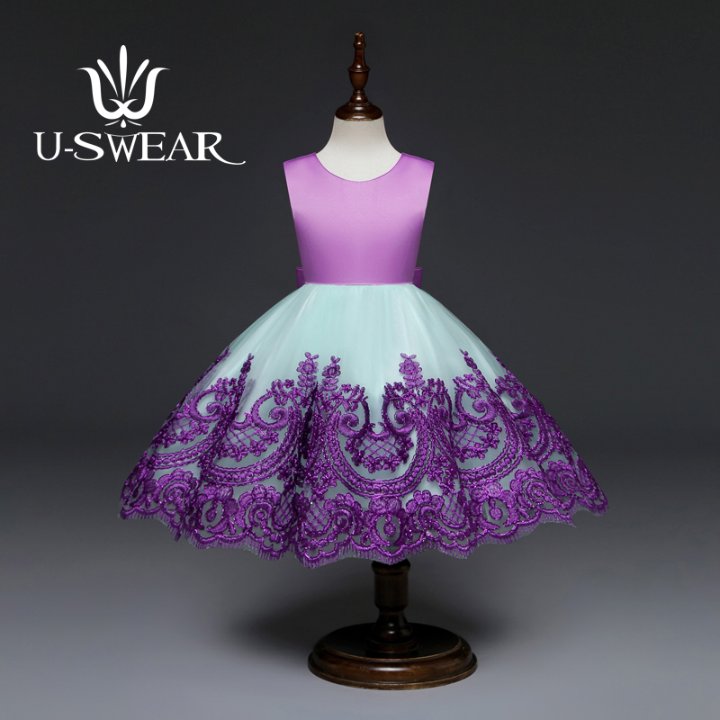 U-SWEAR 2019 New Arrival Kid   Flower     Dresses   O-Neck Sleeveless Chiffon Embroidery Flora Backless Bow Pageant   Dresses   For   Girls