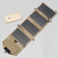 새로운 7 w 5 v 휴대용 접는 모노 태양 전지 패널 충전기 usb 출력 컨트롤러 팩 아이폰 psp 방수 무료 배송