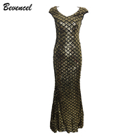 2017 Women Cocktail Sexy Gold Sequins Beads Maxi Dress Sleeveless V Neck Backless Mesh Patchwork Elegant