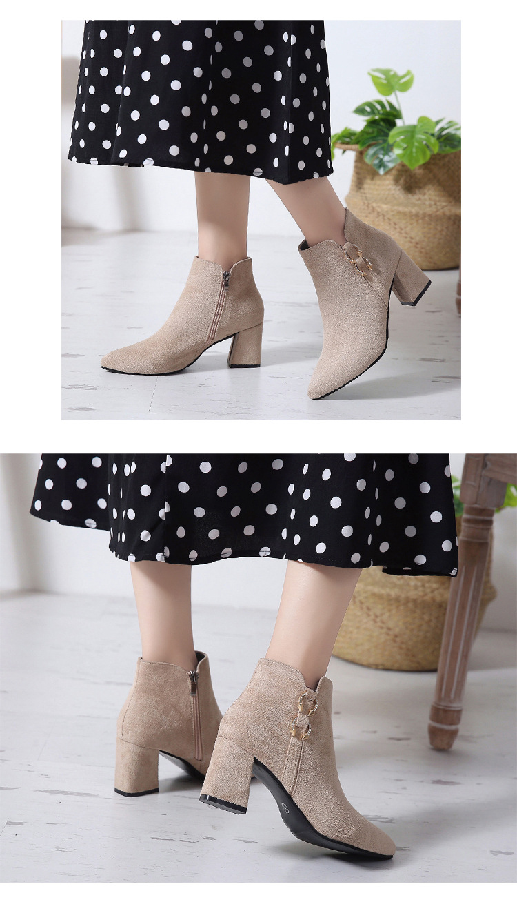 2019 Spring Autumn Women Boots New Fashion Casual Ladies Flock Short Boots Female Middle Heeled Boots M8D261 (9)