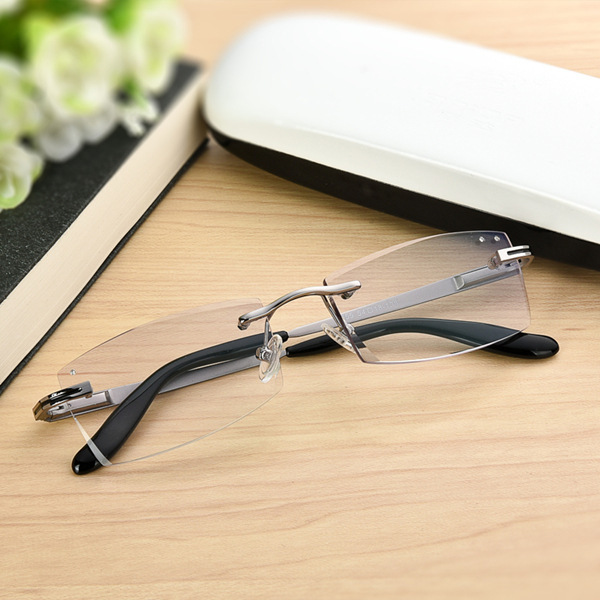 The new anti fatigue reading glasses Men and women of diamond cutting his rimless glasses