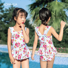 AONIHUA Floral Swimsuit Girls Summer Outdoor Swim Wear One-Piece Suits Sleeveless dress Sweet Girl For 2-12 Years Old
