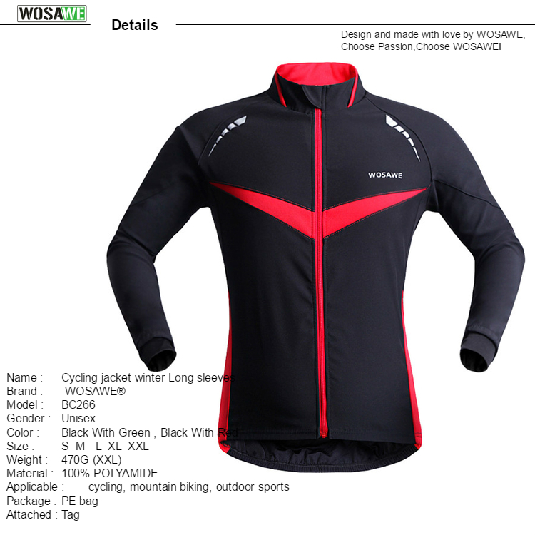 164841419 WOSAWE Windproof Waterproof Cycling Jacket Long Sleeve Jersey Winter ...