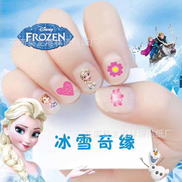Disney princess crianças Elsa congelado etiqueta do prego decalques da arte do prego maquiagem brinquedo fingir jogar beleza moda cosplay partido presente da menina