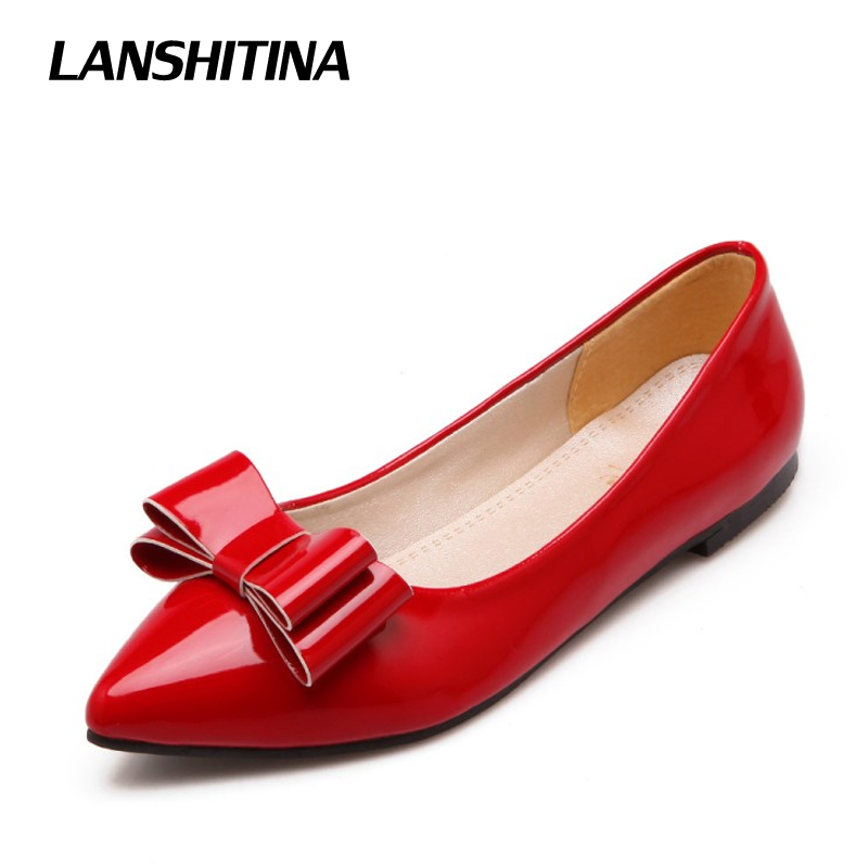 LANSHITINA Big Size 30-49 Women Flat Shoes Bow Cute Pointed Fashion Ladies Spring Summer Fashion Chaussure Femme Boat Shoes 777 new 2017 spring summer women shoes pointed toe high quality brand fashion womens flats ladies plus size 41 sweet flock t179