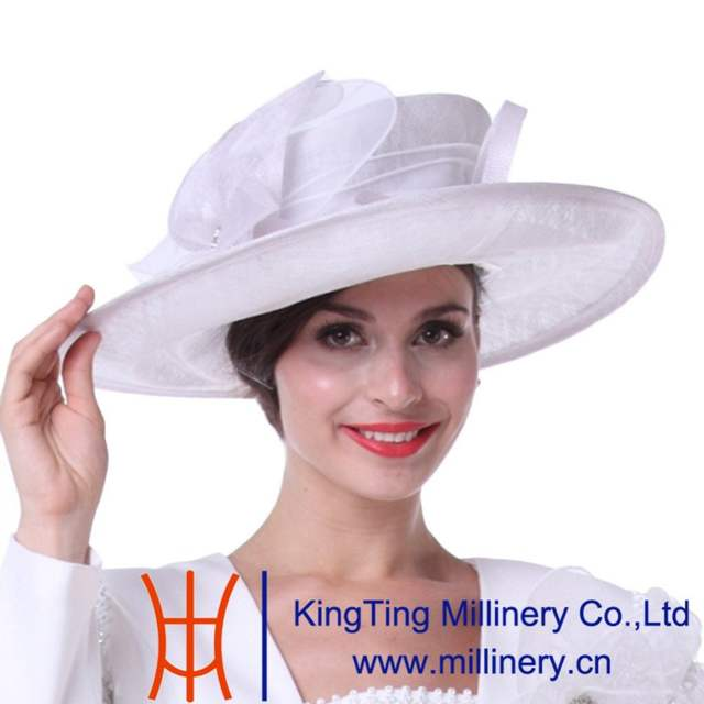 ad1654263f3 Online Shop Kueeni Women Church Hats Outwear Outfits Hat White Wide Brim  Large Size Elegant Noble Female Party Wedding Church Fedoras Hats