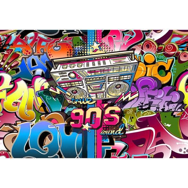 7x5ft vinyl photography backdrops color graffiti music brick wall