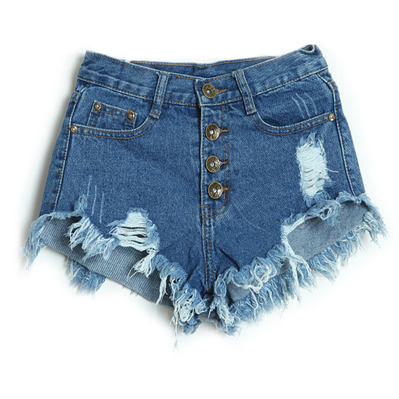 Summer Style Shorts Women Vintage High Waist Shorts Jeans -8325
