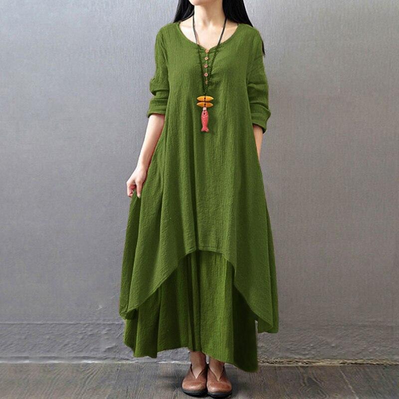 EaseHut Vintage Women Casual Loose Dress Solid Long Sleeve Boho Ethnic Autumn Long Maxi Dresses Plus Size Retro vestido mujer 5
