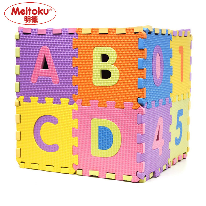 meitoku baby eva foam play puzzle mat 36pcslot number and letter a z interlocking