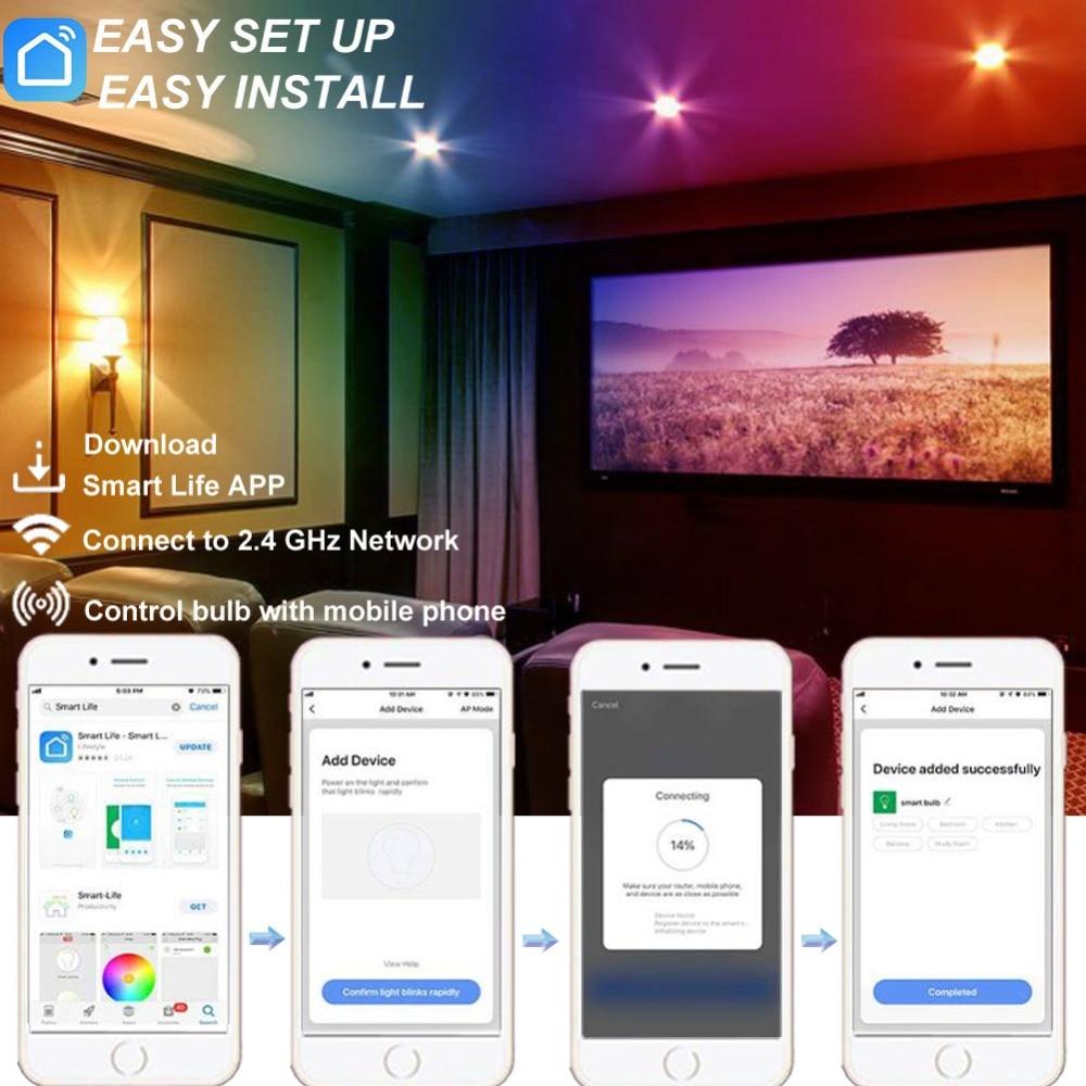 Умный Wifi Moonlight, RGBW Диммируемый пульт дистанционного управления Moonlight, голосовое управление работает с Alexa Echo Google Home IFTTT Tuya Smart - 5