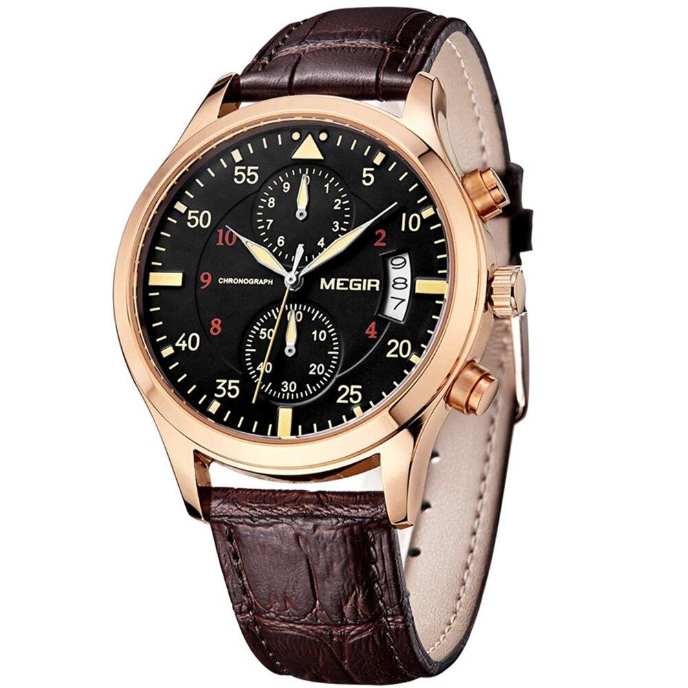 MEGIR Brand Gold Watch Leather Canvas Band Sport Watch Fashion luxury Watch Quartz Military Men's Wrist Watches men ak military canvas band waterproof quartz sport watch