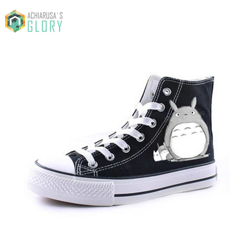 ФОТО Men shoes casual shoes Japanese anime totoro print canvas shoes breathable gumshoe chaussure homme canvas shoes WMCS-831