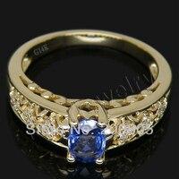Большая распродажа! 14Kt желтое золото сапфировое кольцо, натуральный Алмазный сапфир кольцо для женщин SR00444
