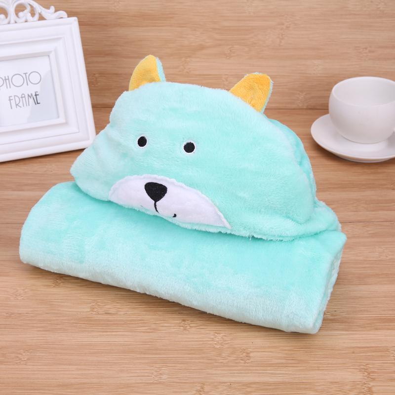 Baby Bath Towel Green Lovely Cartoon Animals Fleece Kids Hooded Cloak Bathrobe Soft Flannel Baby Receiving Blanket Warm Pajamas